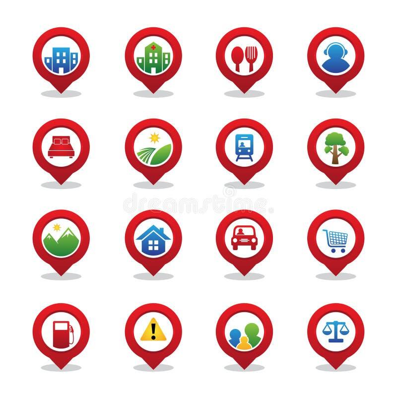 Metta l'elemento di navigazione di GPS del perno per la mappa con il puntatore dell'icona illustrazione di stock