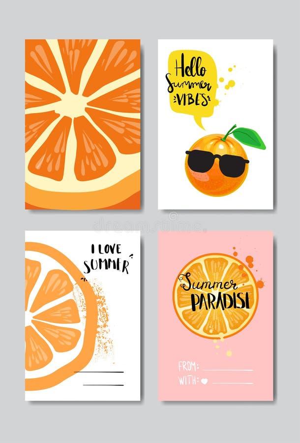 Metta l'etichetta tipografica di progettazione isolata distintivo arancio di amore dell'estate Condisca le feste che segnano per  illustrazione vettoriale