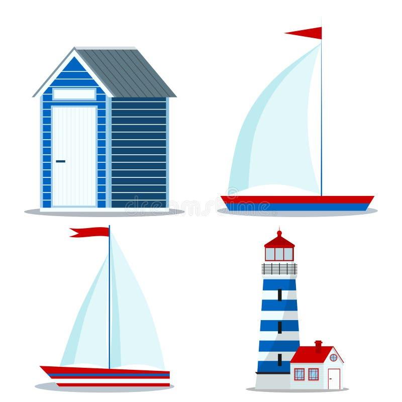 Metta l'icona della barca a vela blu e rossa con una e due la vela e la bandiera, la capanna della spiaggia, faro illustrazione di stock