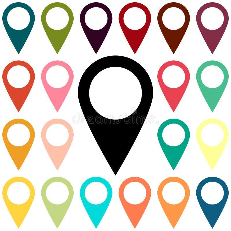 Metta l'icona di posizione di segno del perno della mappa con l'ombra grigia di pendenza di ellisse nello stile semplice piano Co royalty illustrazione gratis