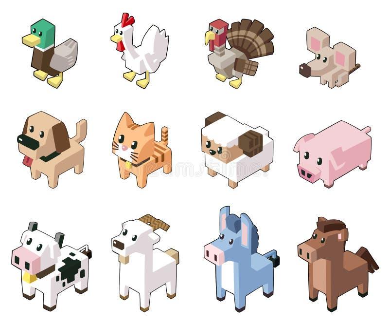 Metta l'illustrazione di vettore degli animali isometrici svegli immagine stock libera da diritti