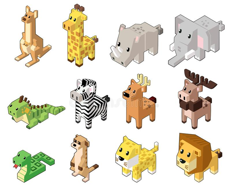 Metta l'illustrazione di vettore degli animali isometrici svegli fotografia stock libera da diritti