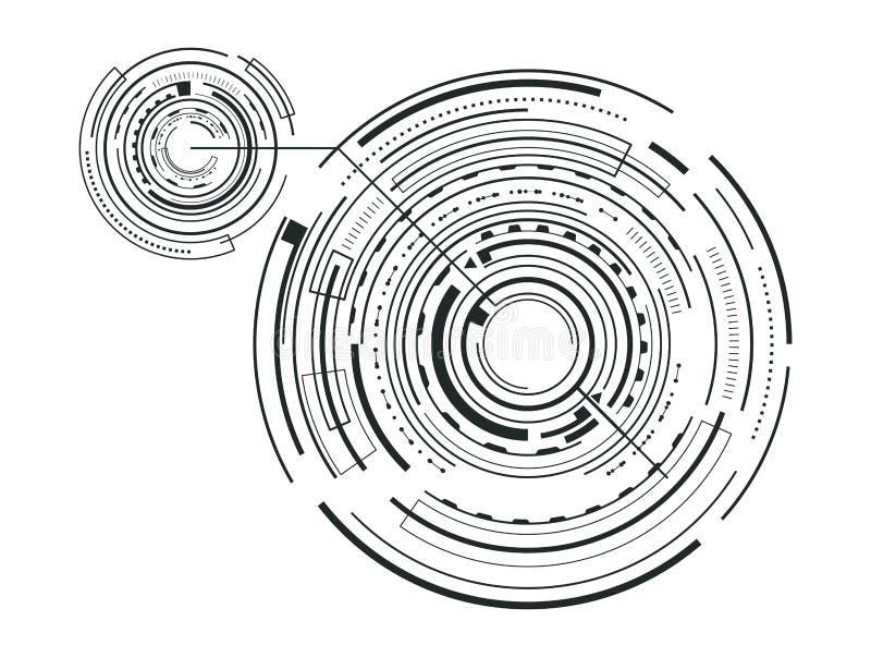 Metta l'illustrazione futura di vettore di schizzo dell'interfaccia illustrazione di stock