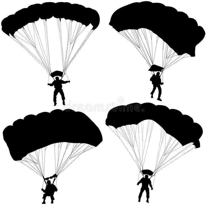 Metta l'illustrazione paracadutante di vettore delle siluette del paracadutista illustrazione vettoriale
