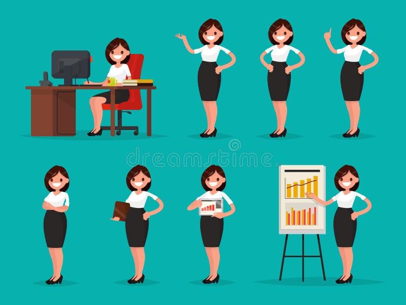 Metta l'impiegato di concetto della donna in varie situazioni Illustrati di vettore illustrazione vettoriale