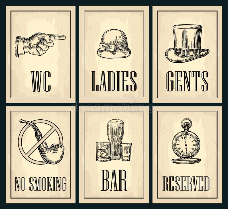 Metta l'insegna Indicare barretta Manifesto di lerciume della toilette per le signore, centesimi illustrazione vettoriale