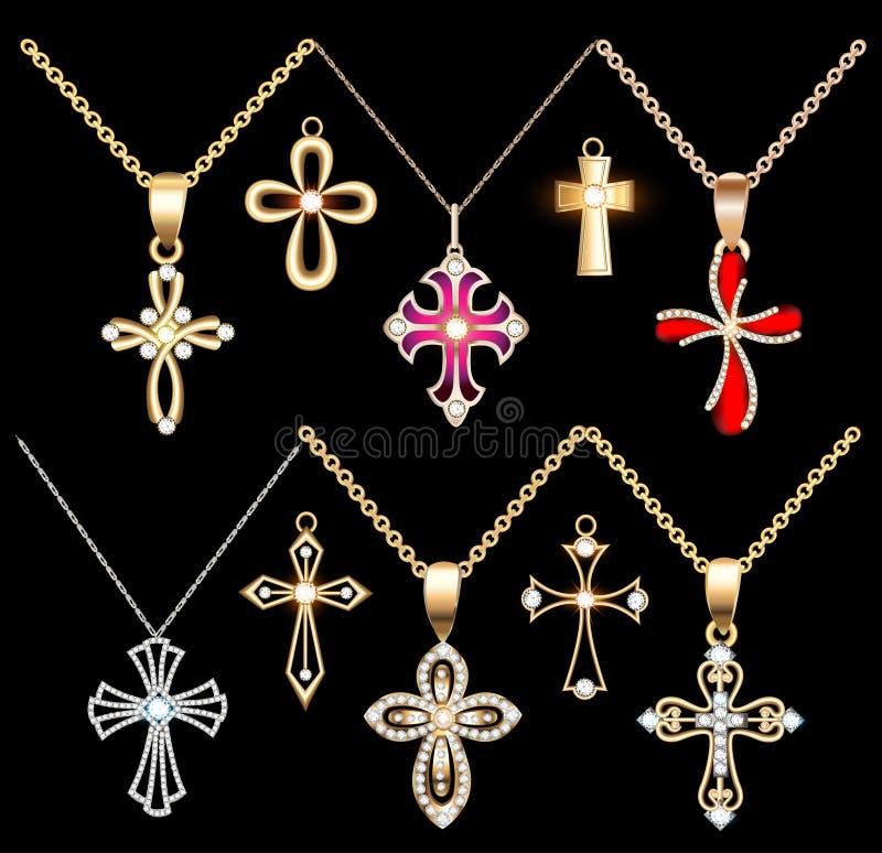 Metta l'oro ed il pendente trasversale d'argento con le gemme royalty illustrazione gratis