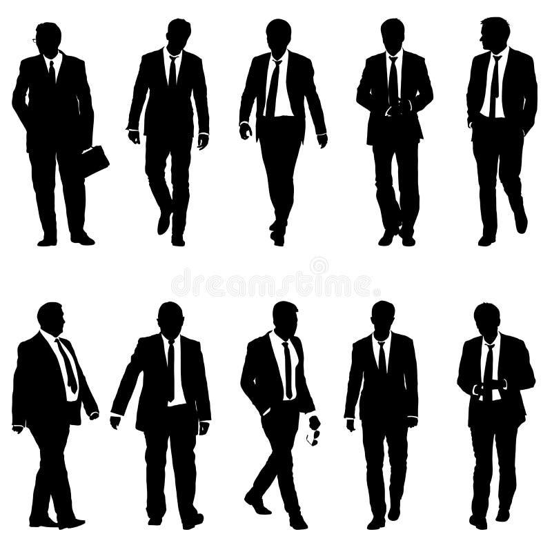 Metta l'uomo dell'uomo d'affari della siluetta in vestito con il legame su un fondo bianco Illustrazione di vettore immagine stock libera da diritti
