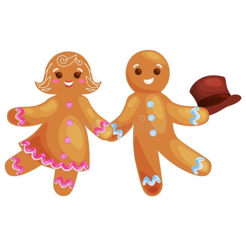 Metta l'uomo e la ragazza di pan di zenzero dei biscotti di natale decorati con il dancing di glassa e divertiresi in un cappucci illustrazione vettoriale