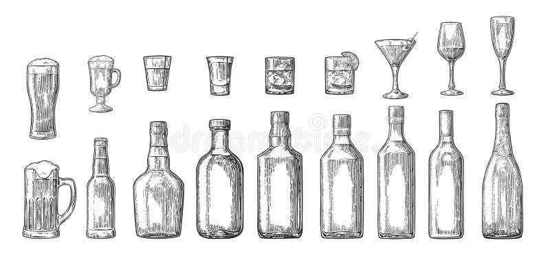 Metta la birra della bottiglia e di vetro, il whiskey, il vino, il gin, il rum, la tequila, cocktail illustrazione vettoriale