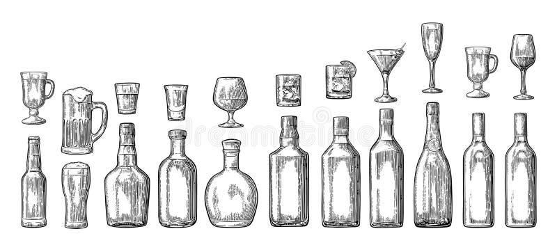 Metta la birra della bottiglia e di vetro, il whiskey, il vino, il gin, il rum, la tequila, il champagne, cocktail illustrazione vettoriale
