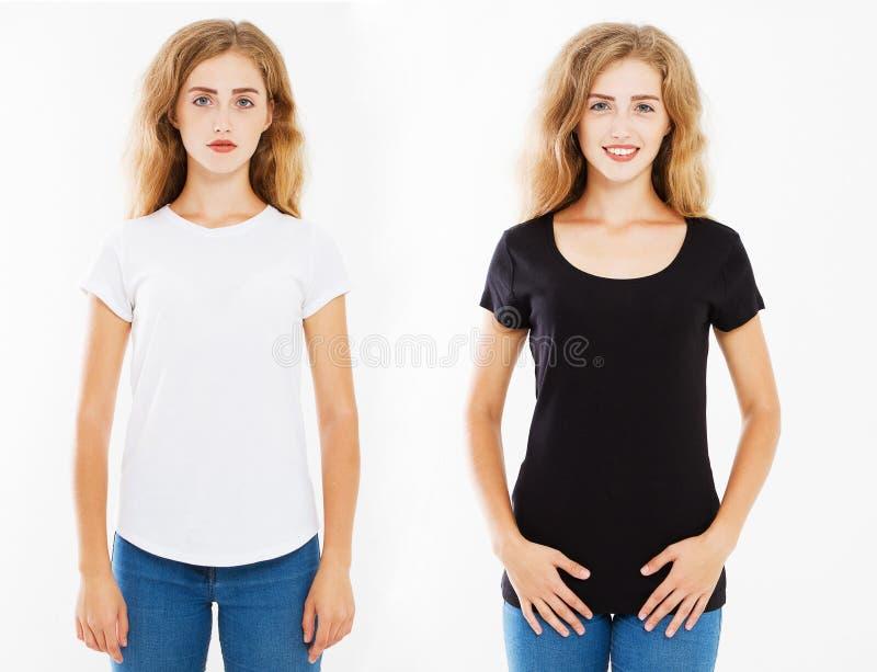 Metta la donna sexy due in maglietta bianca e nera isolata su fondo bianco, modello, falso su, viste della parte posteriore fotografia stock libera da diritti