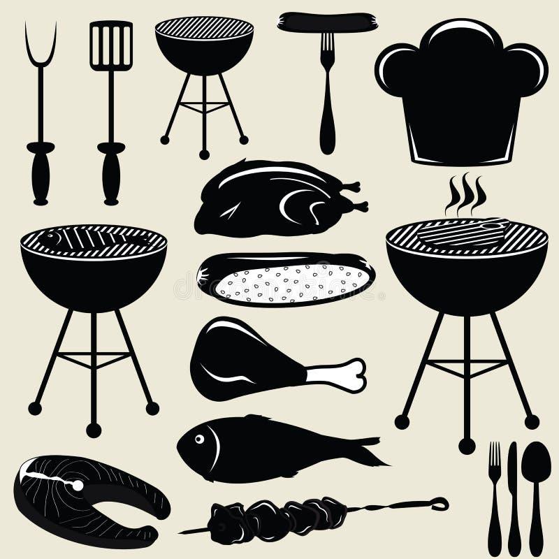 Metta la griglia del barbecue delle icone illustrazione vettoriale