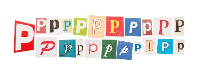 Metta la lettera P tagliata dei giornali fotografia stock libera da diritti