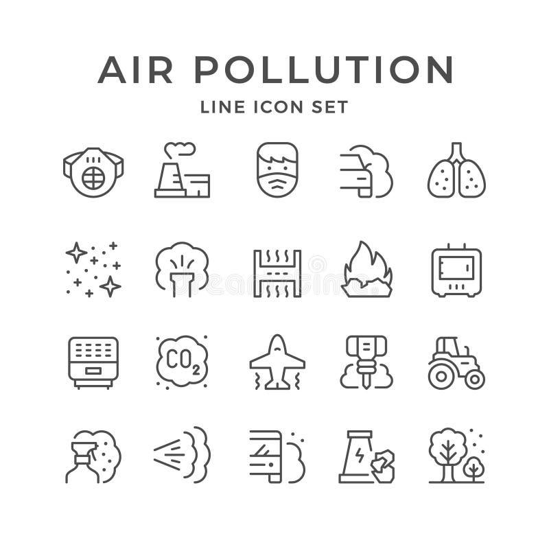Metta la linea icone di inquinamento atmosferico illustrazione vettoriale