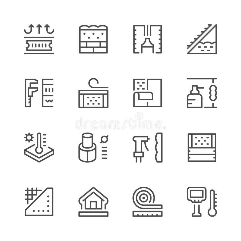 Metta la linea icone di isolamento illustrazione vettoriale