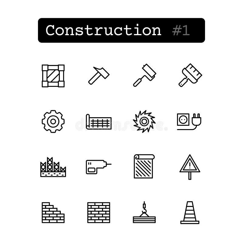 Metta la linea icone Vettore Costruzione, costruente illustrazione di stock
