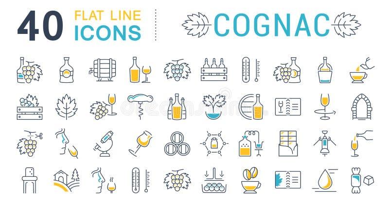 Metta la linea piana cognac di vettore delle icone royalty illustrazione gratis
