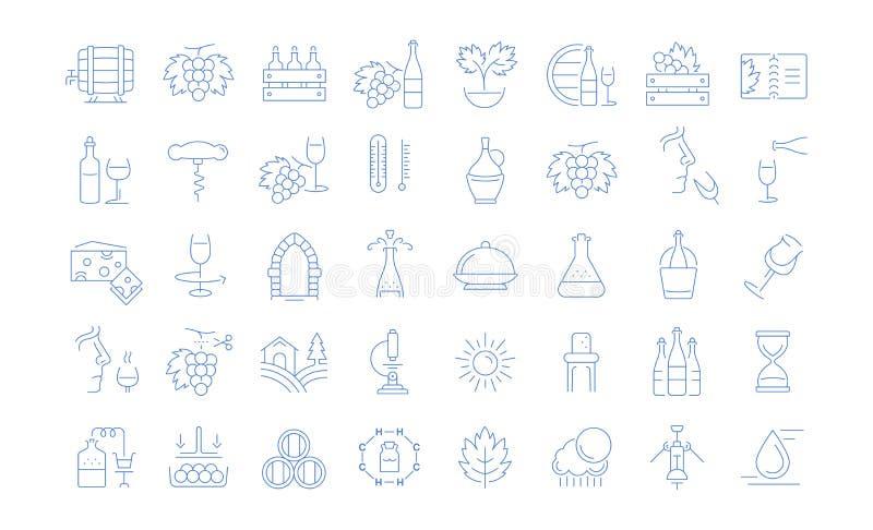 Metta la linea piana vino di vettore delle icone illustrazione vettoriale