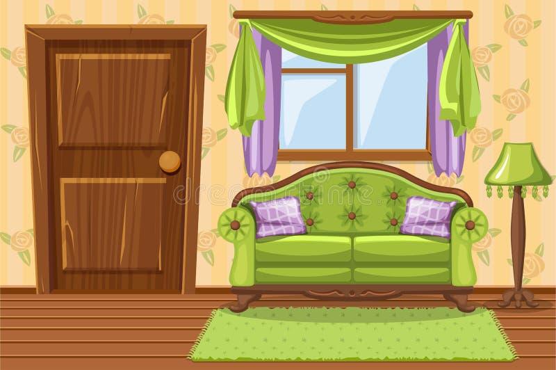 Metta la mobilia attenuata annata verde del fumetto, salone illustrazione di stock