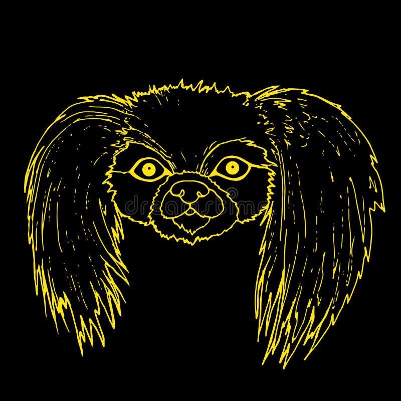 Metta la museruola al cane di pechinese, profilo giallo di colore isolato sul BAC nero royalty illustrazione gratis