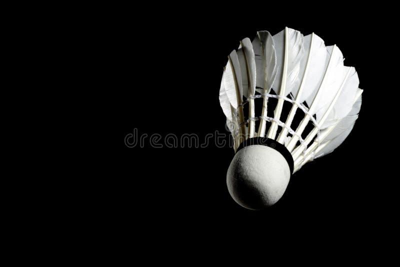 Metta la piuma di volano di volano professionale su fondo nero isolato fotografia stock