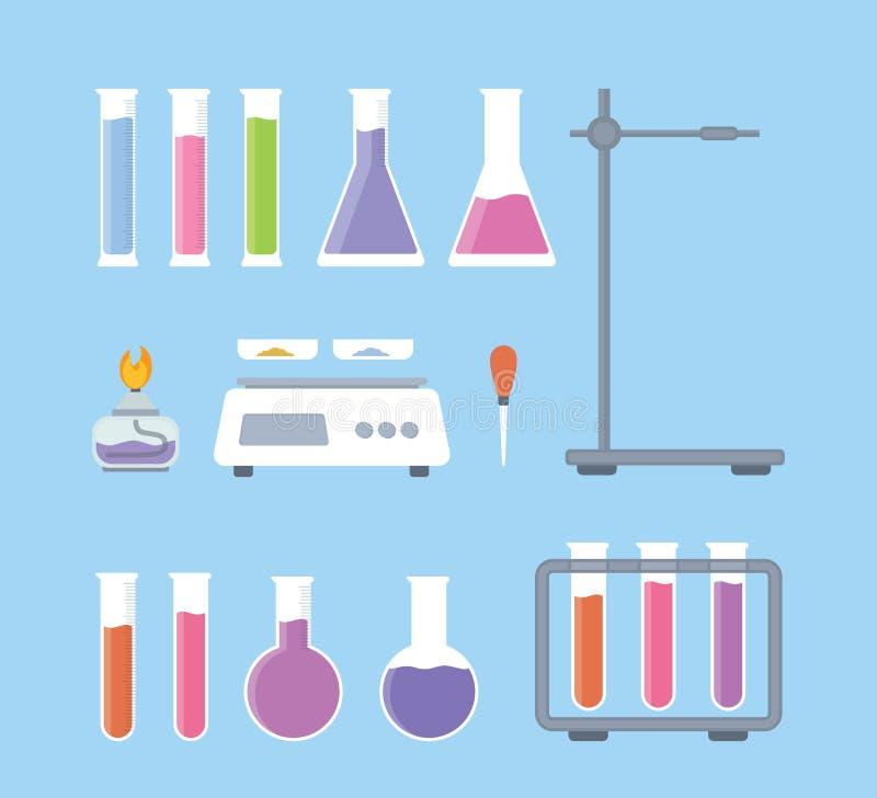 Metta la raccolta degli strumenti di scienza del laboratorio con varia forma e dell'oggetto con stile piano moderno - vettore illustrazione di stock