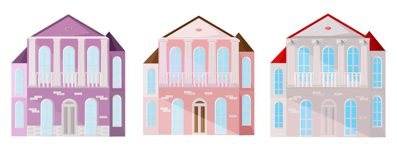 Metta la raccolta del vettore variopinto delle costruzioni di case della facciata dell'architettura Rosa pastello illustrazione di stock