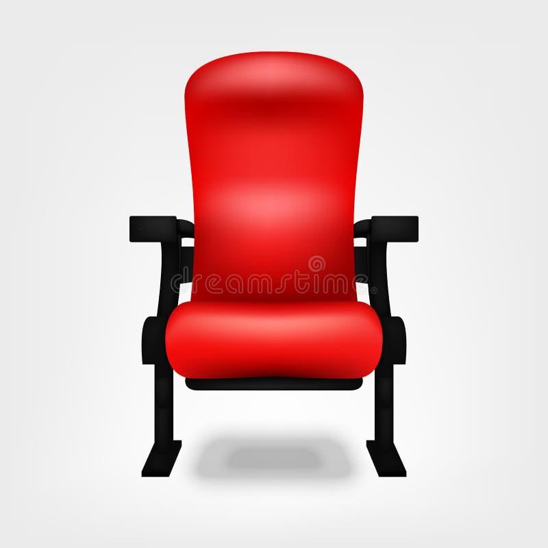 Metta la sedia a sedere rossa nel cinema isolato su un fondo bianco illustrazione di stock