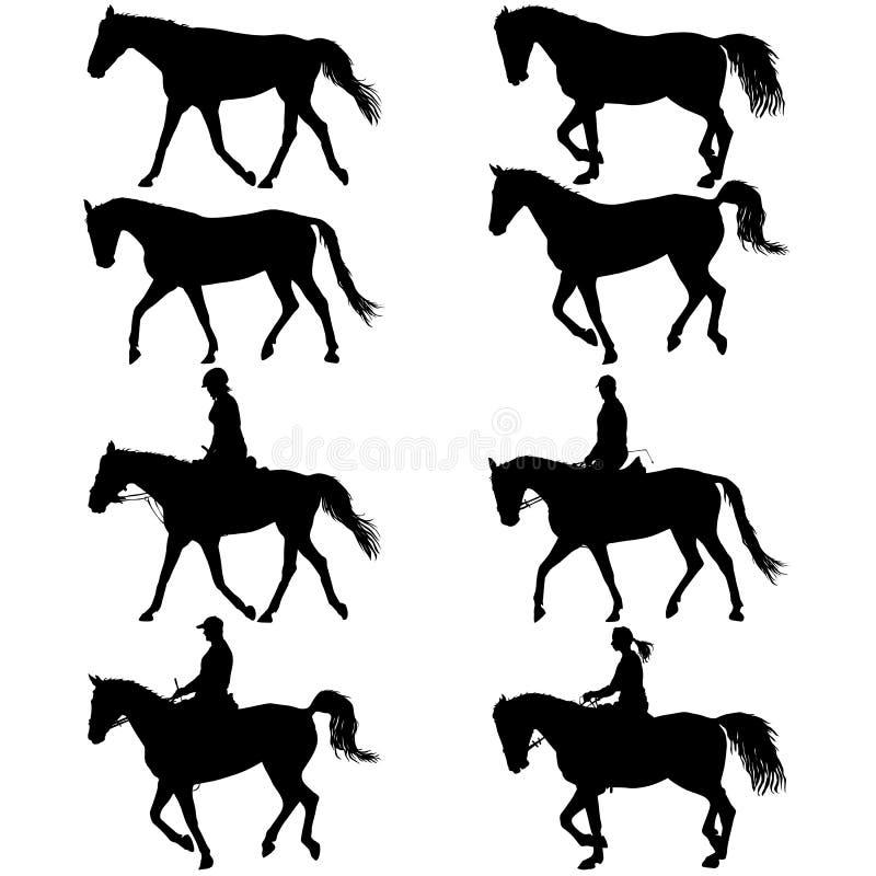 Metta la siluetta di vettore del cavallo e della puleggia tenditrice royalty illustrazione gratis