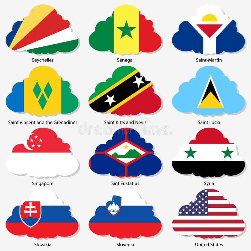 Metta le bandiere degli stati sovrani del mondo nella forma illustrazione vettoriale