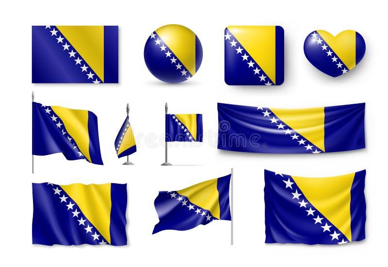 Metta le bandiere della Bosnia-Erzegovina, le insegne, le insegne, i simboli, icona piana illustrazione vettoriale
