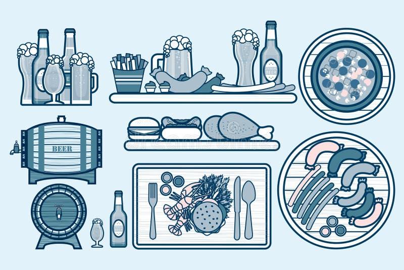 Metta le birre, i boccali con coperchio, bottiglie e l'alimento con tipple, aperitivo, pasto rapido nella linea stile illustrazione vettoriale