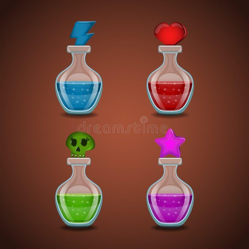 Metta le bottiglie con differenti pozioni illustrazione vettoriale
