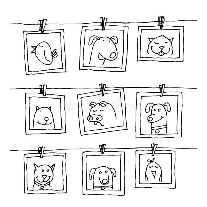 Metta le cornici con il ritratto degli animali, illustrazione disegnata a mano di vettore royalty illustrazione gratis