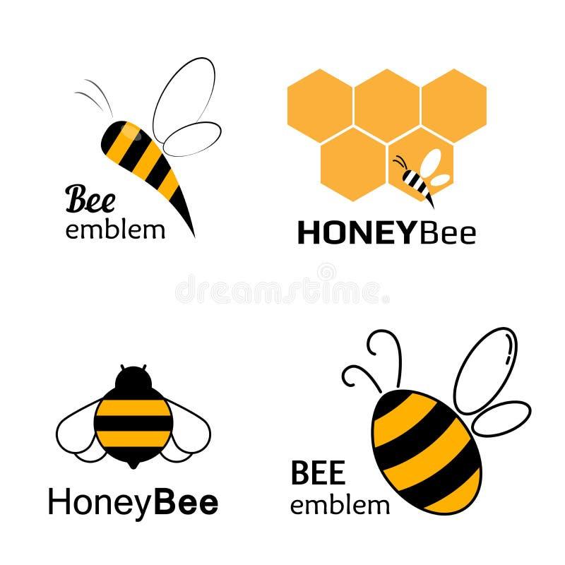 Metta le etichette per miele, i prodotti di logo, illustrazione dell'ape di vettore royalty illustrazione gratis