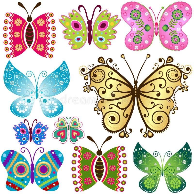 Metta le farfalle di fantasia illustrazione di stock
