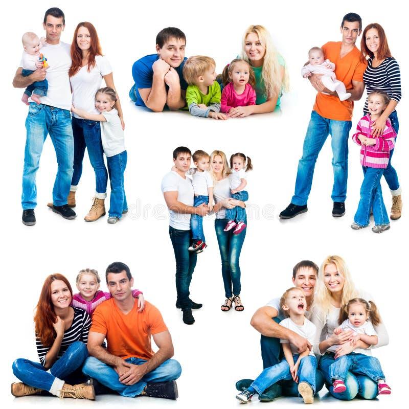 Famiglie sorridenti felici immagine stock libera da diritti