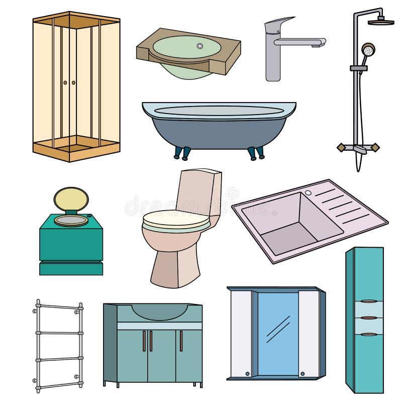 Metta le icone colorate profilo per il bagno su un fondo bianco royalty illustrazione gratis