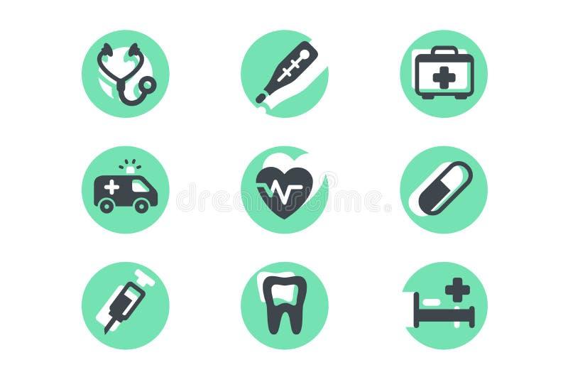 Metta le icone con la selezione medica, i rifornimenti, pillole royalty illustrazione gratis