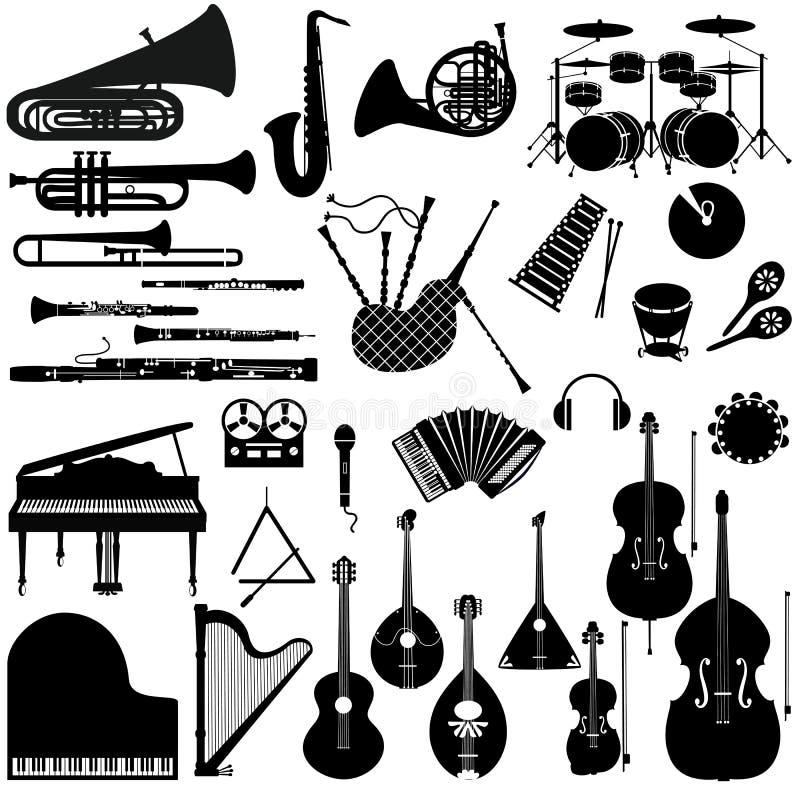 Metta le icone degli strumenti musicali illustrazione vettoriale