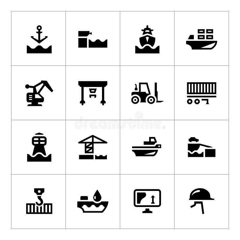 Metta le icone del porto marittimo illustrazione vettoriale