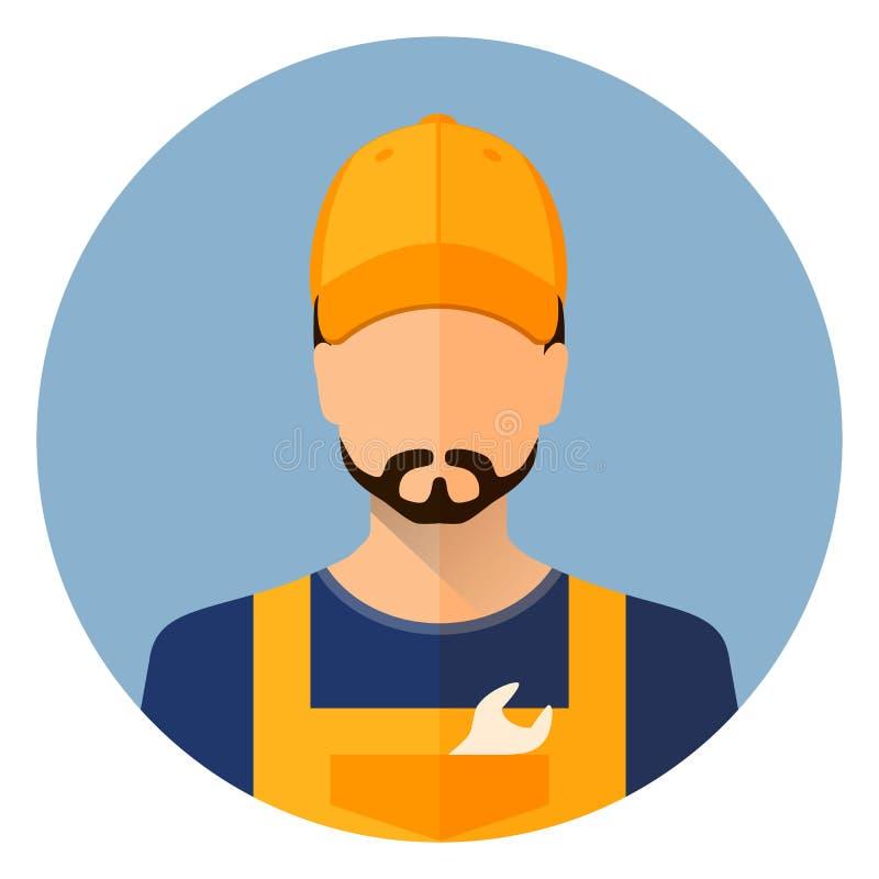 Metta le icone dell'automobile Ripari l'avatar un uomo Riparazione dell'automobile Cerchio piano di stile dell'icona Vettore di r illustrazione vettoriale