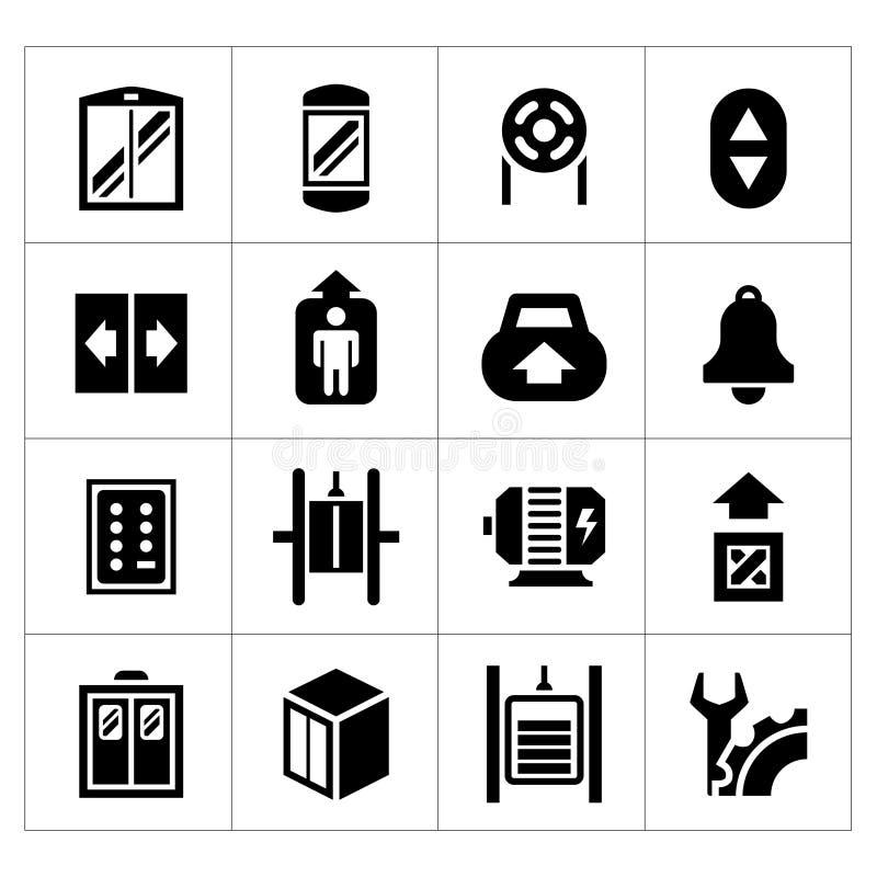 Metta le icone dell'elevatore e dell'ascensore royalty illustrazione gratis