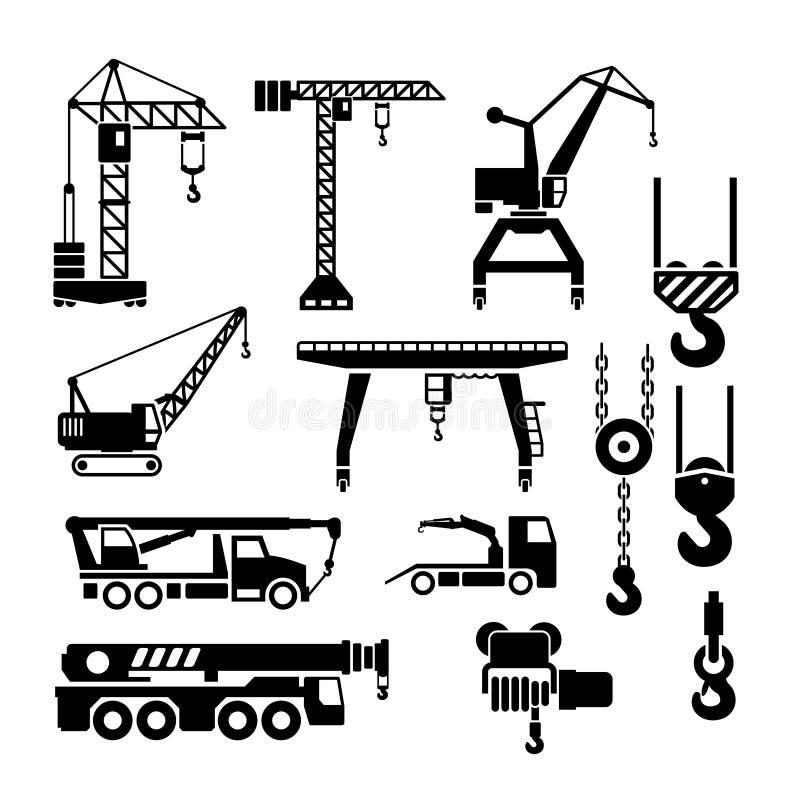 Metta le icone della gru, degli ascensori e degli argani illustrazione di stock