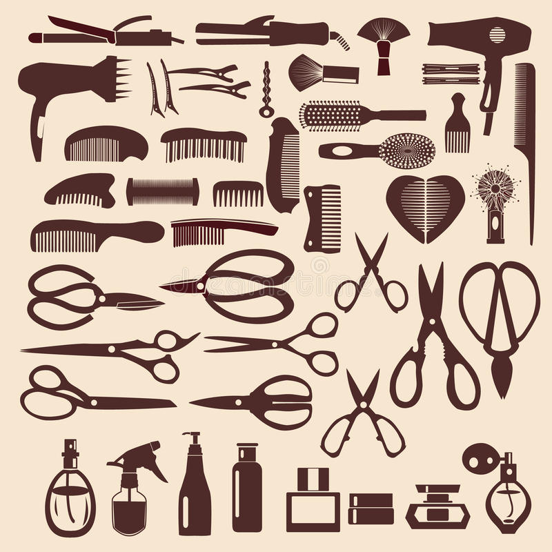 Metta le icone dello strumento haircutting - illustrazione royalty illustrazione gratis