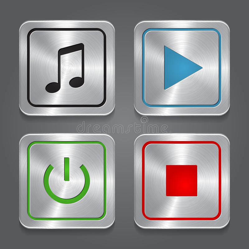 Metta le icone di app, colle metallico dei bottoni del lettore multimediale illustrazione di stock