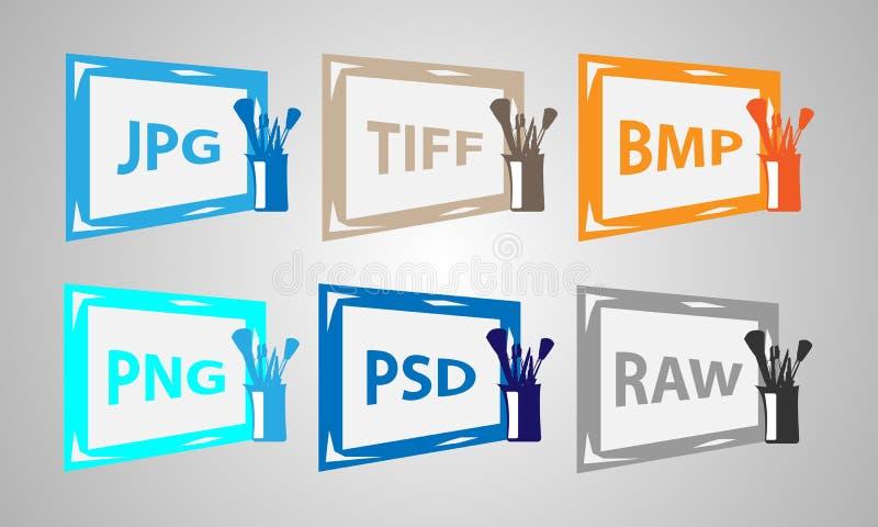 Metta le icone di formati immagine fotografia stock