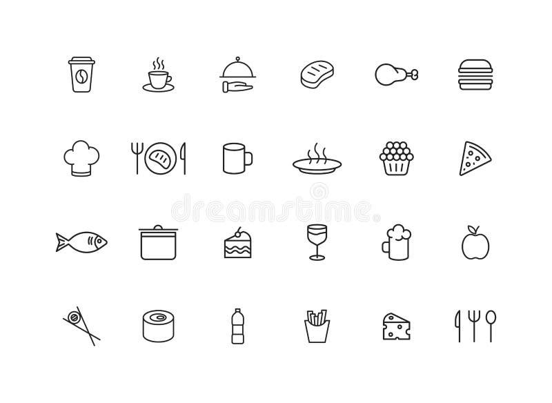 Metta le icone di 24 web della bevanda e dell'alimento nella linea stile Coffe, innaffia, mangia, ristorante, pasto rapido Illust illustrazione di stock