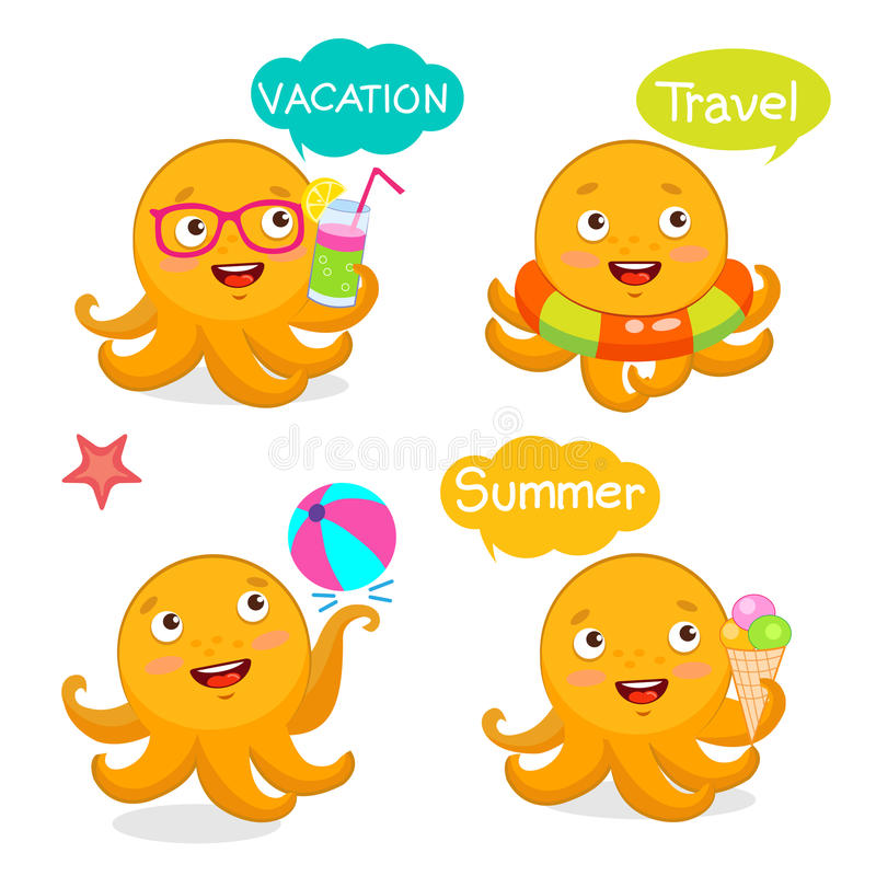 Metta le icone ed i palloni di vacanza Mascotte dei caratteri dell'illustrazione di viaggio di estate Estate con il polipo svegli